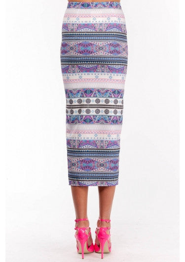 "CHIC ""Aztec Carnical"" Side Split Maxi Skirt"