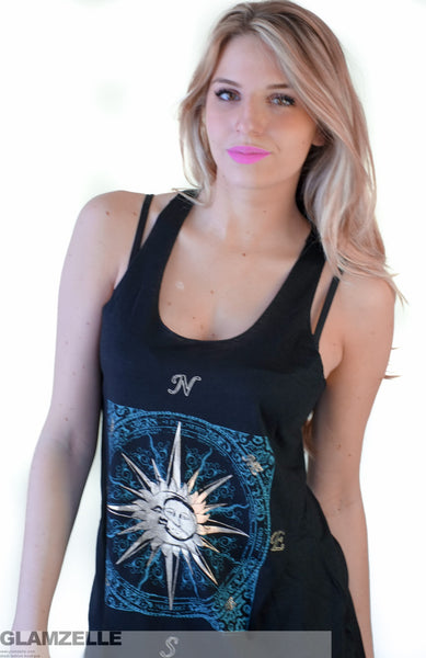 "BOHO ""COMPASSion"" Moon and sund Print Muscle Tank"