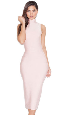 Rei Blush High Neck Bandage Pencil Dress (3 colors available)