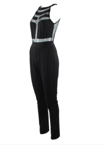"CHIC ""Mesh Panel"" Long Jumpsuit (2 colors available)"