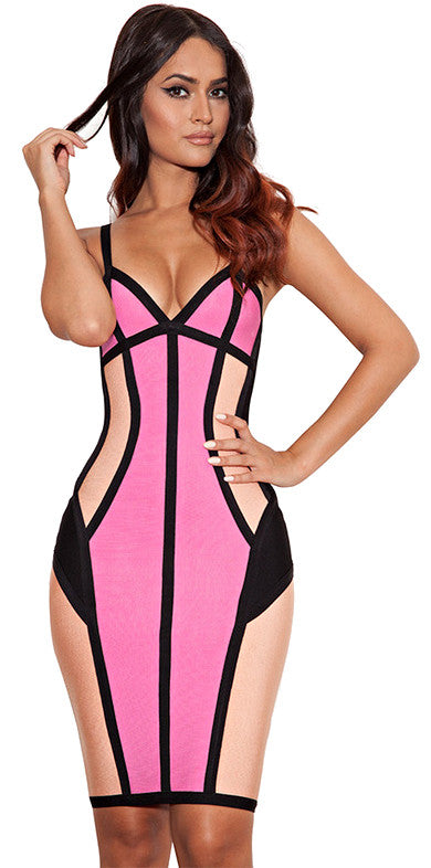"""Pretty in Pink"" ColorBlock Bandage Dress"