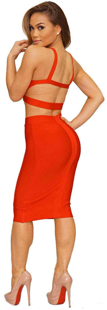"""Starlet Kiss"" Two Pieces Bandage Dress (4 colors available)"