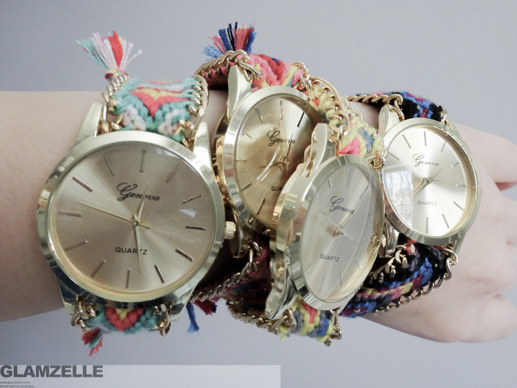 """Friendship Bracelet"" Maya Print Watch (4 colors available)"