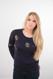 Lulla Blinged Ribbed Navy Pullover