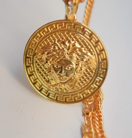 EXCLUSIVE Medusa Emblem Coin Necklace-GOLD
