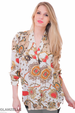 CHIC Quilted Jewelry Printed Blouse