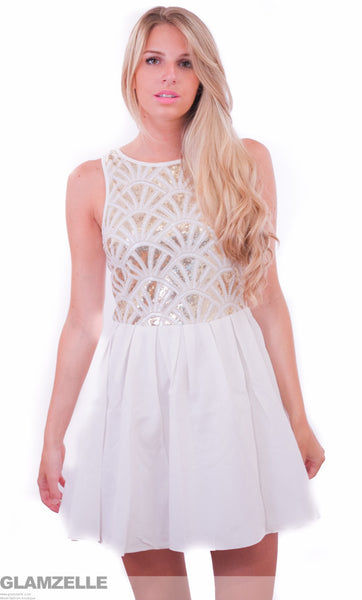 """Sequin Paradise"" White Skater Dress"