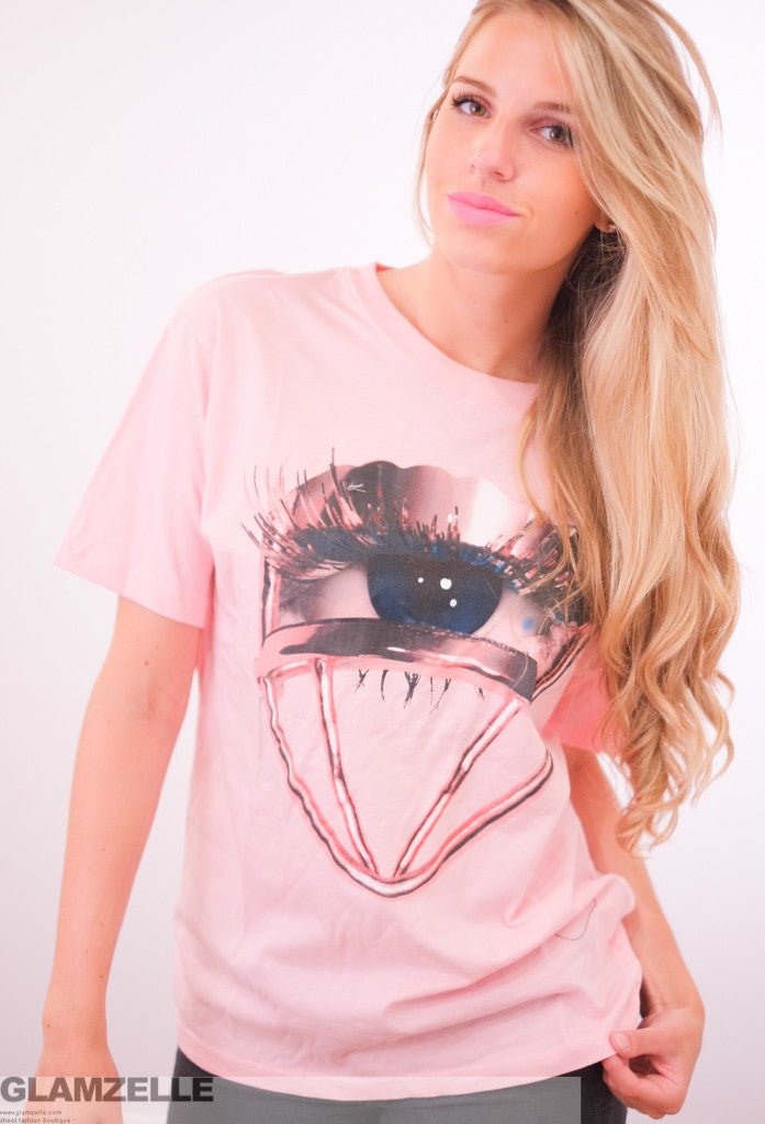 """An Eye for Beauty"" Pink Lashes Print T-Shirt"
