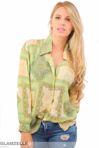 EXCLUSIVE Green Gold Baroque Print Blouse