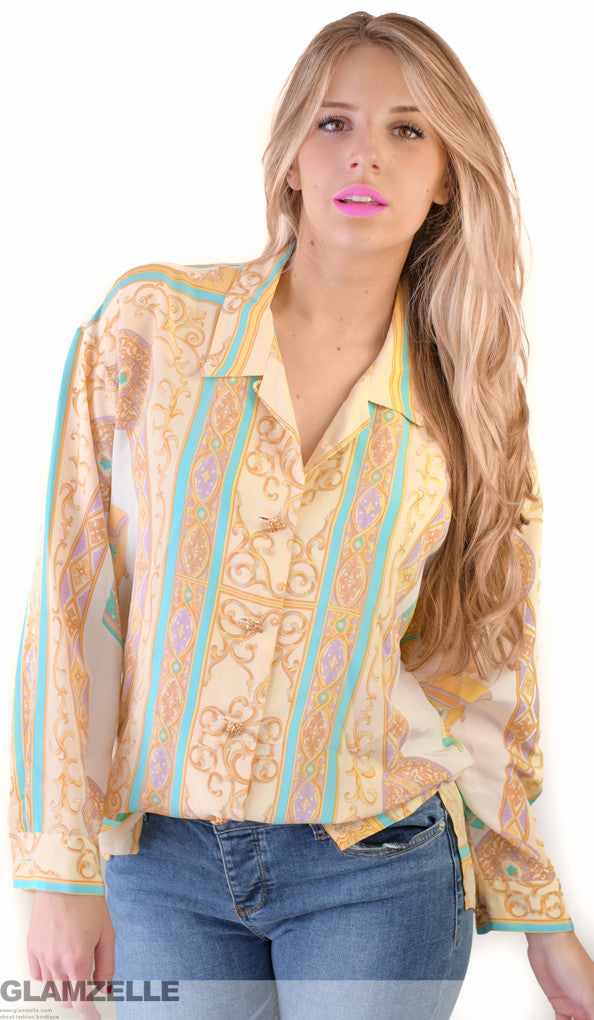 "EXCLUSIVE ""You are my passion"" Pastel Jewelry Printed Blouse"