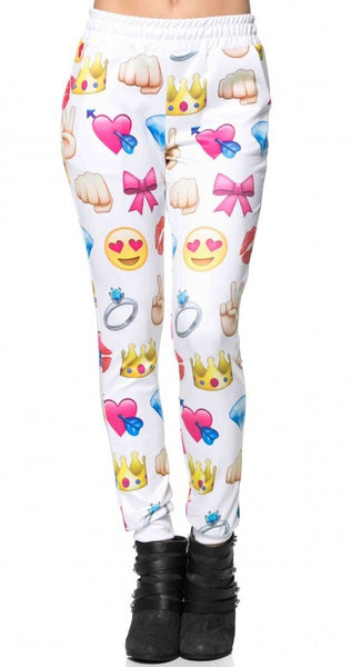 "EMOJI ""Wild Love"" Diamond Bow Peace Printed Joggers Pants"