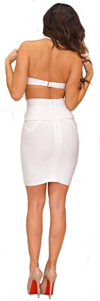 """Sexy Angel"" White Side Cut Backless Bandage Dress"