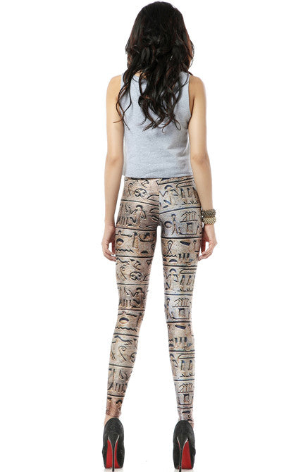 Egyptian Hieroglyphics Print Skinny Leggings
