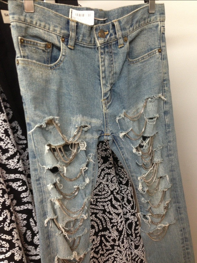 """Holy Grail"" Shredded Chain-Embellished Skinny Jeans"