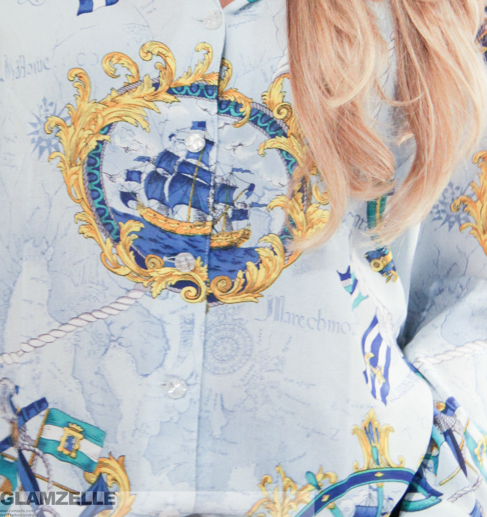 Sky Blue Boat & Chains Printed Blouse