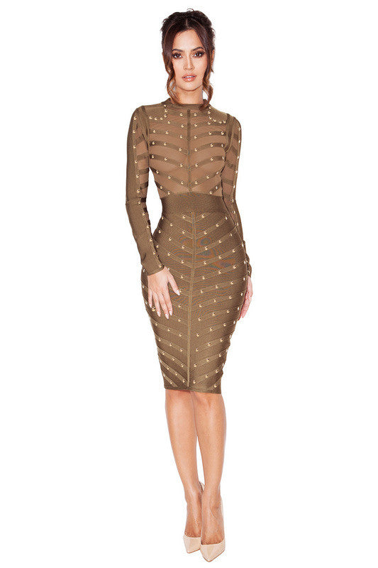 Kayra Khaki Studded Bandage and Mesh Dress