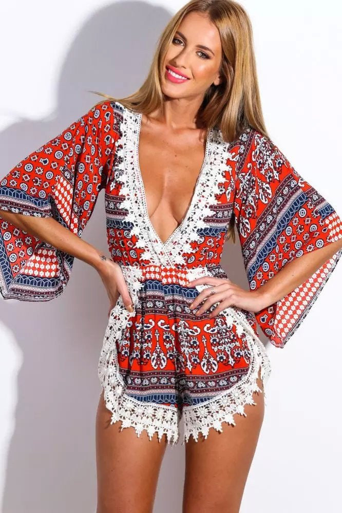 EXCLUSIVE Lace Trim Long Sleeve Romper Playsuit- Red/White