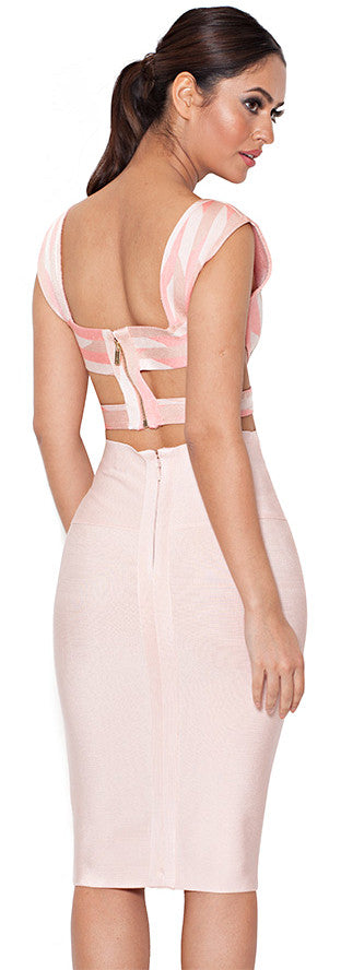 """Love Wanderer"" Apricot and Stone Bandage Two Piece Set"