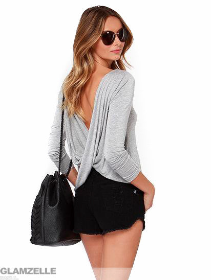 """Draped Back"" Heather Grey Long Sleeve Top (3 colors available)"