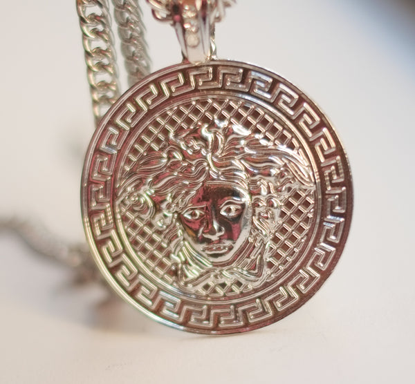 EXCLUSIVE Medusa Emblem Coin Necklace-SILVER