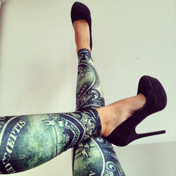American Dollar Bill Print Leggings