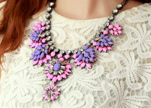 Neon Resin Pink/Purple Flowers Necklace