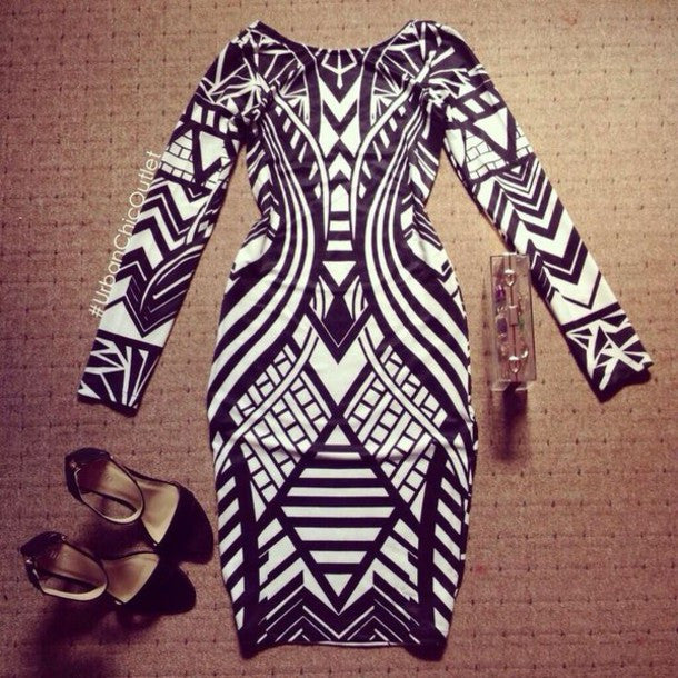 """Sexy Illusion"" Black & White Aztec Bodycon Dress"