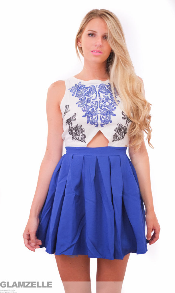 "CHIC ""Grecian Goddess"" Embroided Cutout Babydoll Skater Dress"