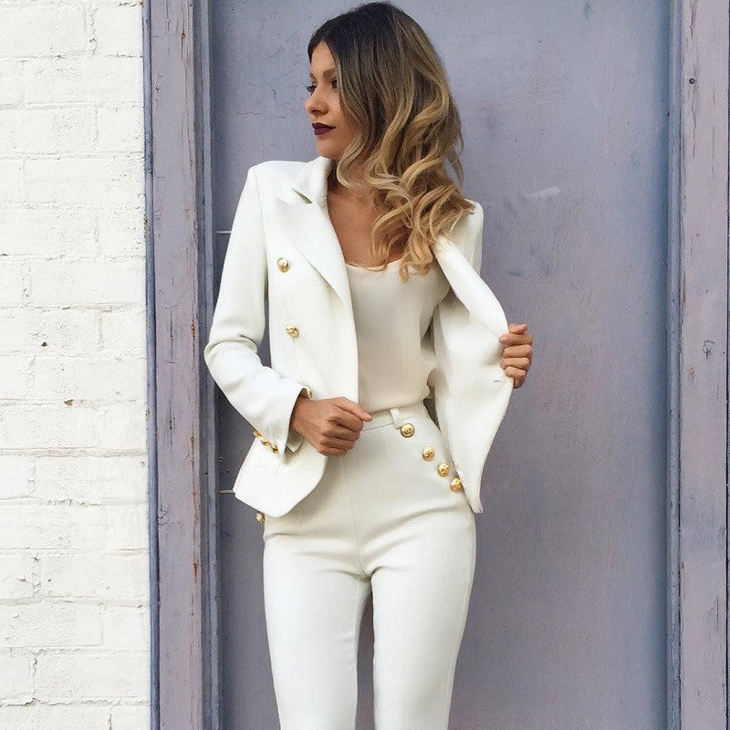 Balmania Stand Out White Blazer Gold Buttons (2 colors available)