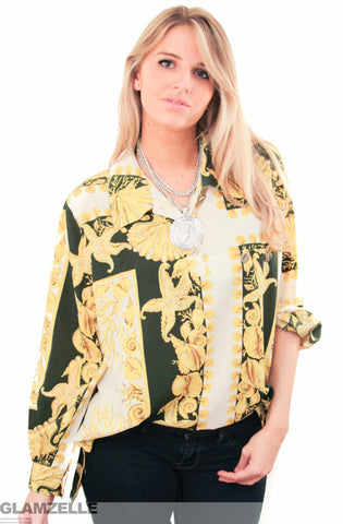 EXCLUSIVE Baroque Gold Shells Printed Blouse