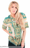 EXCLUSIVE Baroque Emerald Gold Printed Blouse