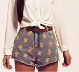Bart Simpson Print Jeans Shorts (2 colors available)