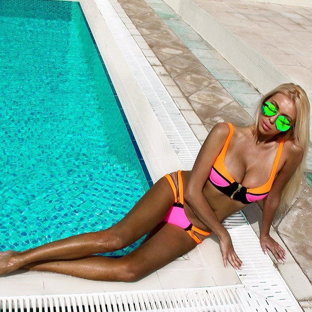 Brazilian Night Colorblock Zippers Bikini (2 colors available)