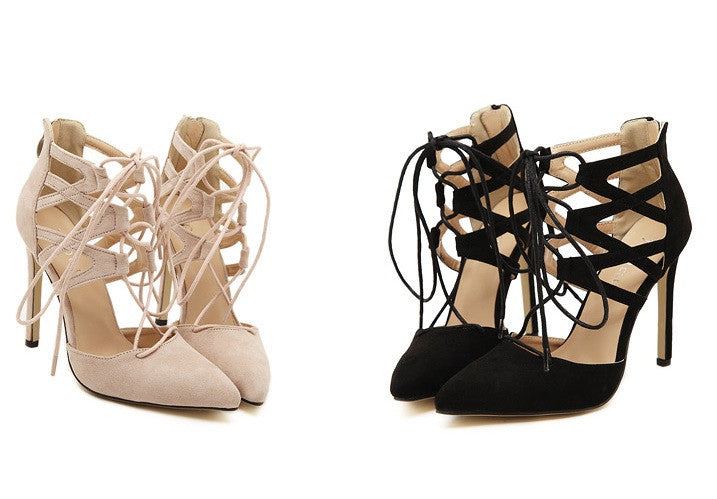 """Belgravia"" Laced Up Camel  Suede Pumps Sandals (2 colors available)"