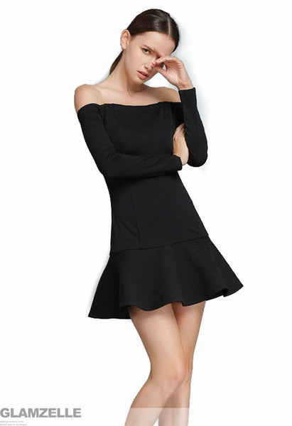 Koma Bare Shoulders Crepe Dress
