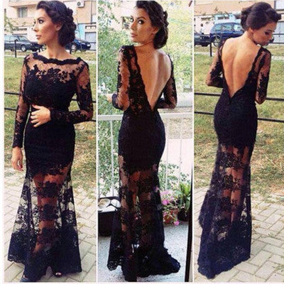 """Romance Me"" Black Backless Laces Maxi Gown Dress"