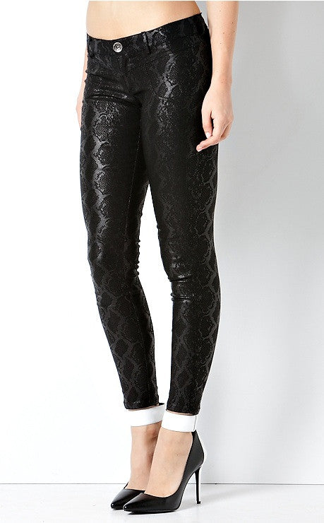 """Dark Anaconda"" Snakeskin Cotton Denim Jeans"