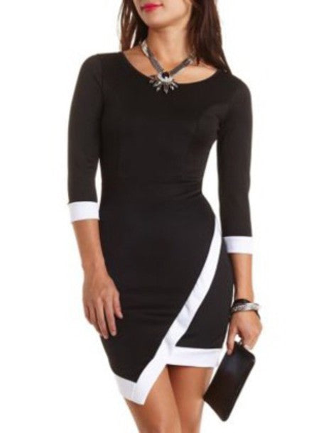 """Cold Hearted Babe"" Asymmetric Dress (2 colors available)"