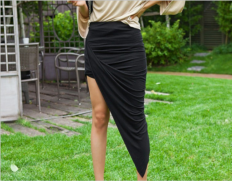 """Wrap me Up"" Wrapped Asymmetrical Jersey Skirt (4 colors available)"