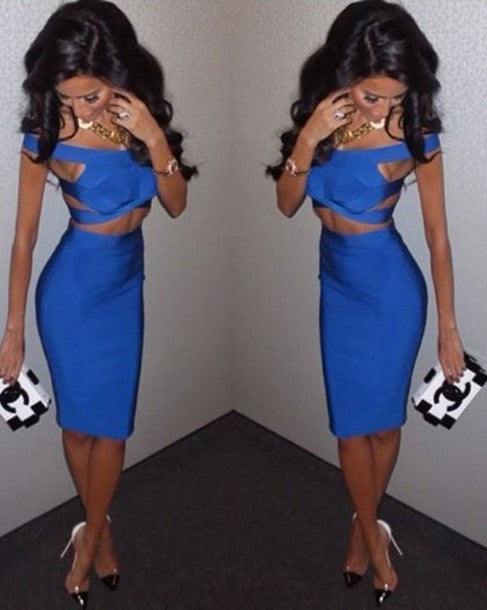 """Royal Blue Vibe"" Two Pieces Bandage Dress"