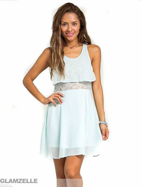 """Baby Blue Frenzy"" Tiered Lace Dress"
