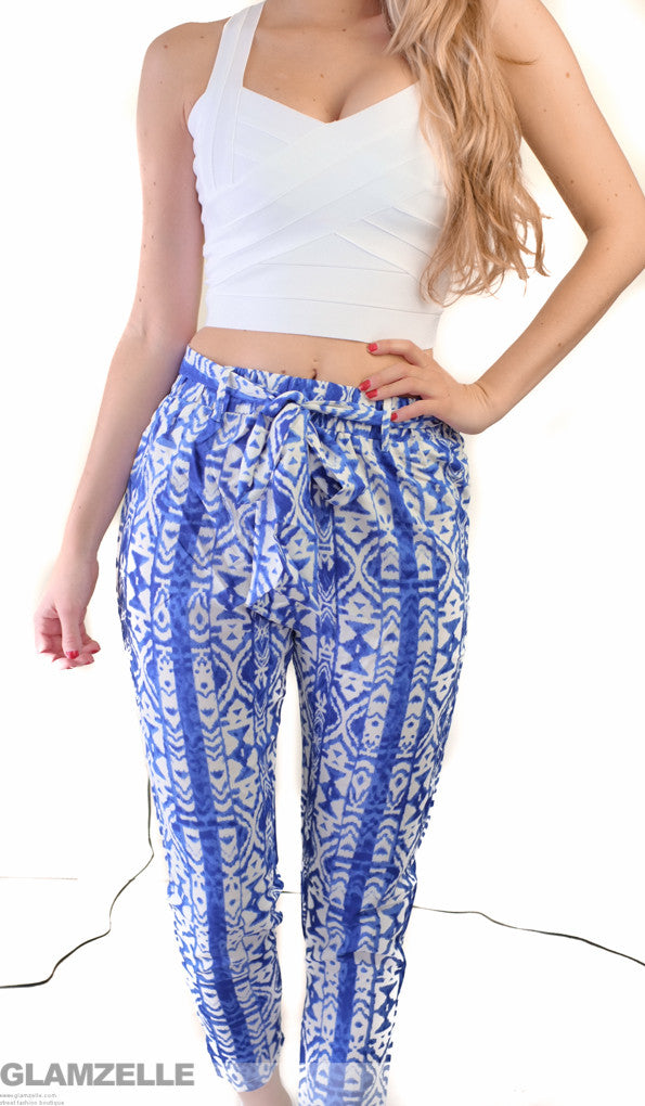 """Set  the Trend"" Blue Drawstring Pants"