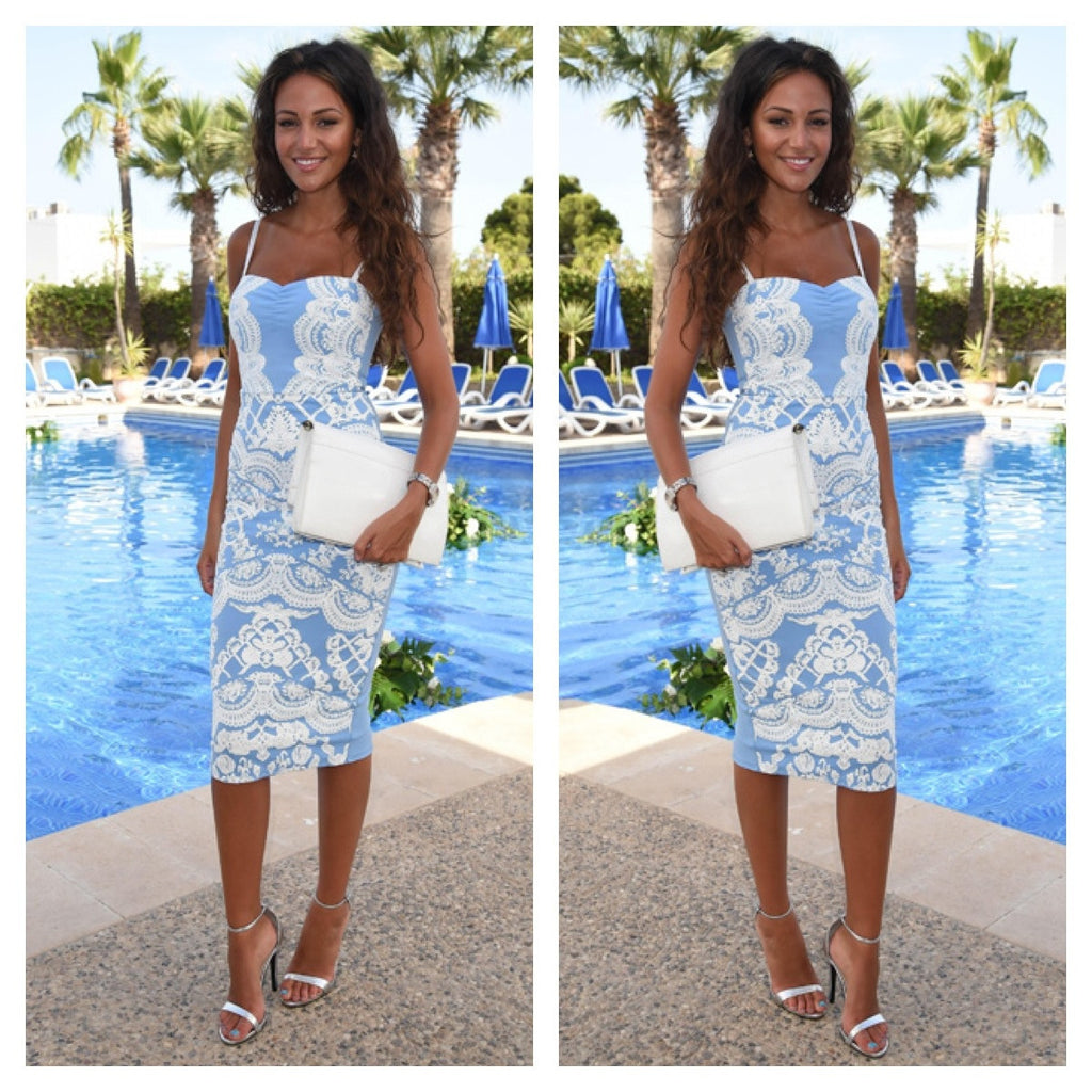 """Blue Horizon"" Laces Illusion Bodycon Dress"