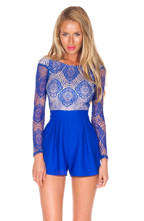 """Blue Royalty"" Laces One Piece Romper Playsuit"