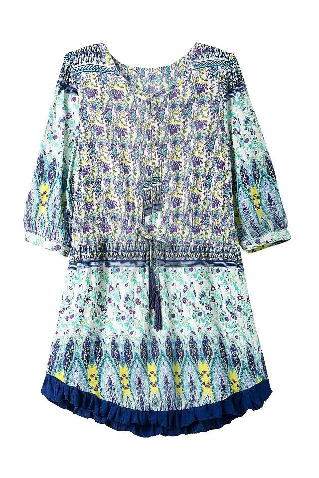 """Great Aspirations"" Blue Boho Tassels Summer Dress"