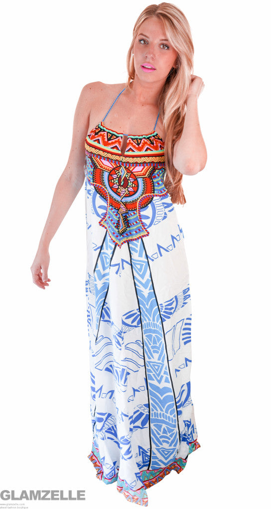 """Travel the World"" Exquisite Maxi Print Dress"