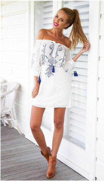 """Boho Love"" Blue White Tassel Dress"