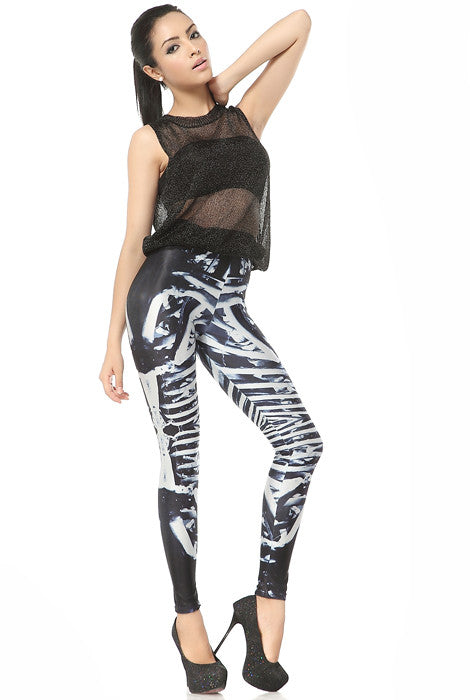 Bones Skeleton Print Skinny Leggings