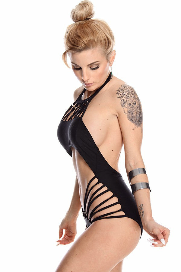 """Caged Chaos"" Open Belly Monokini Swimsuit (2 colors available)"