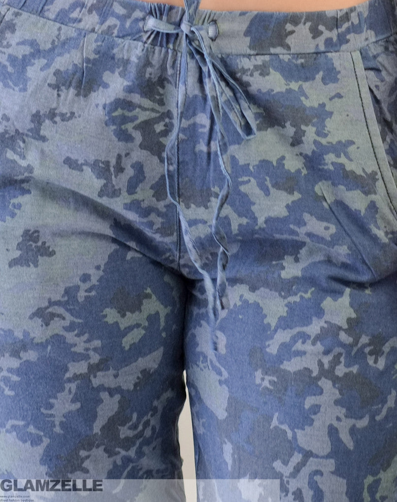 """Night Warrior"" Blue Camo Print Cotton Drawstring Pants"